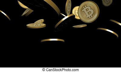 Many Gold bitcoin coins flying in air,Virtual Currency.