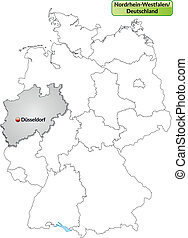 Map of North Rhine-Westphalia with main cities in gray