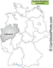 mapa, Północ, Rhine-Westphalia