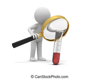 Test tube - A 3d little human character/ test tube/ red...