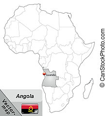 Map of angola with main cities in gray