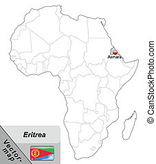 Map of eritrea with main cities in gray
