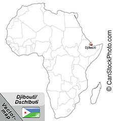Map of Djibouti with main cities in gray