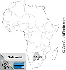 Map of Botswana with main cities in gray
