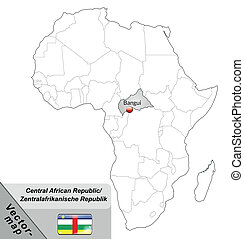 Map of Central African Republic with main cities in gray