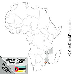 Map of mozambique with main cities in gray