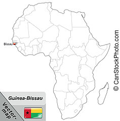 Map of Guinea Bissau with main cities in gray