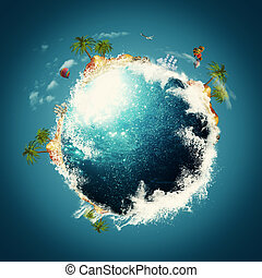 Blue Planet Vacation and travel backgrounds against blue...
