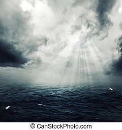 New hope in the stormy ocean, abstract environmental...