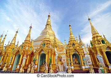 Shwedagon Pagoda Temple in Yangon, Myanmar. - Shwedagon...