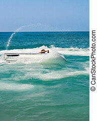 water bike in the sea on bend - water bike in the sea on a...