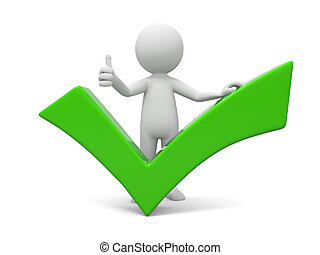 Check mark - A 3d man showing thumb up with green check mark