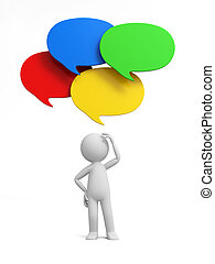 Speech bubble - 3d man thinking with four speech bubble