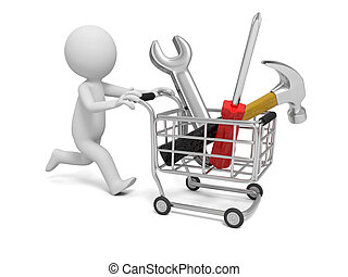 Man with tool - 3d man pushing a cart with hammer, wrench,...