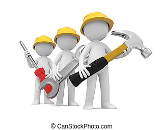 Technician with tool - 3 3d men with hammer, wrench, and...