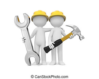 Technician with tool - 2 3d men with hammer and wrench
