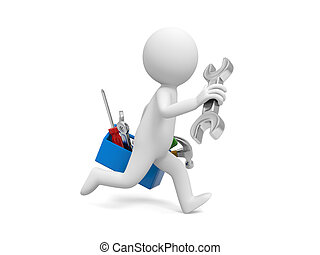 Man with tool - 3d man running with a toolbox , tools in the...