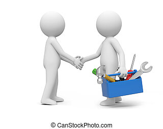 Man with tool - A 3d man with toolbox shaking hands with...