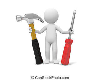 Man with tool - A 3d man standing with a hammer and a...