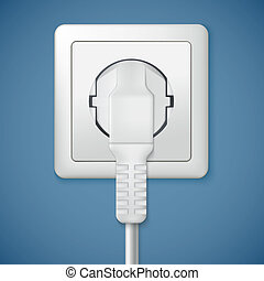 Electrical outlet with plug. Close-up power plug plugged in...