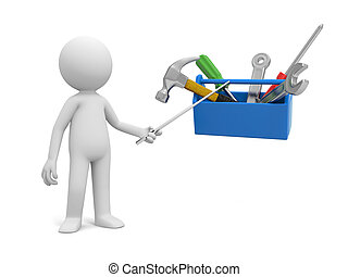 Man with toolbox - A 3d man pointing at the tools in the...