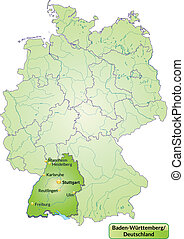 Map of Baden-Wuerttemberg with main cities in green