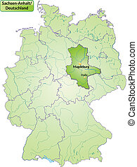 Map of Saxony-Anhalt with main cities in green