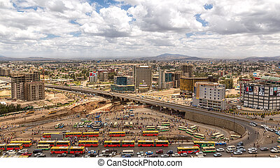 View of Addis Ababa - Blue sky with mixed clouds over the...