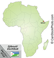 Map of Djibouti with main cities in green