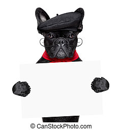 french dog - french bulldog holding white and blank banner...