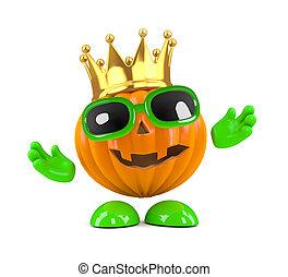 3d King pumpkin - 3d render of a pumpkin wearing a gold...