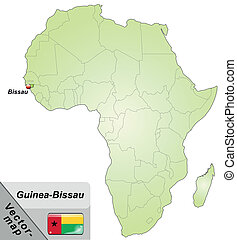 Map of Guinea Bissau with main cities in green