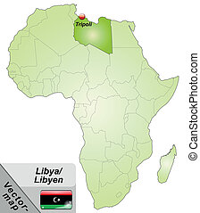 Map of Libya with main cities in green