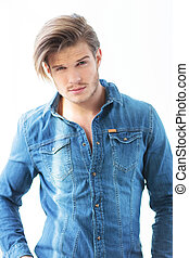 man in jeans clothes with very cute face - young man in...