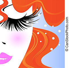 face of red-haired girl - abstract outlines of woman's face...