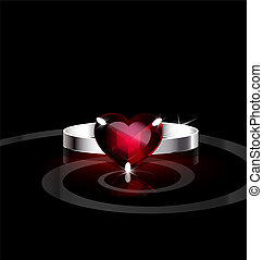 red heart- ring
