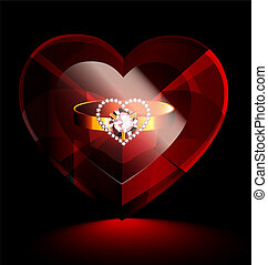 heart-crystal and ring - big dark red heart-crystal with...