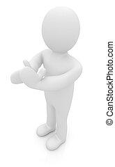 3D, hombre, aislado, blanco, Series:, humano, emociones, -,...