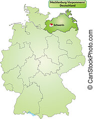 Map of Mecklenburg-Western Pomerania with main cities in...