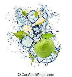Ice green apple on white background - Ice green apple...