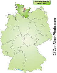 Map of Schleswig-Holstein with main cities in green