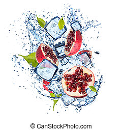 Ice pomegranate on white background - Ice pomegranate...