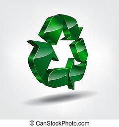 Símbolo, reciclagem,  3D