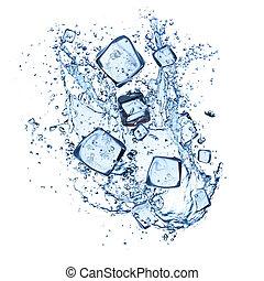 hielo, cubos, agua, salpicaduras, blanco, Plano de fondo