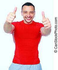 esportiva, homem, thumbing, cima, vermelho, T-shirt, sobre,...