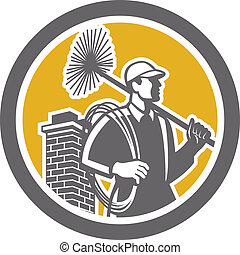 Chimney Sweeper Worker Retro - Illustration of a chimney...