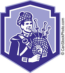 Scotsman Bagpiper Play Bagpipes Retro Shield - Illustration...