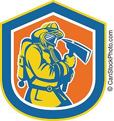 bombeiro, bombeiro, segurando, fogo, machado, escudo
