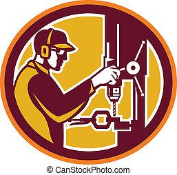 Worker Drilling Drill Press Retro Circle