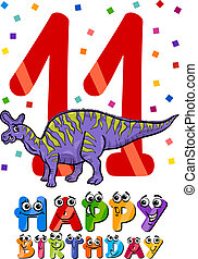eleventh birthday cartoon design